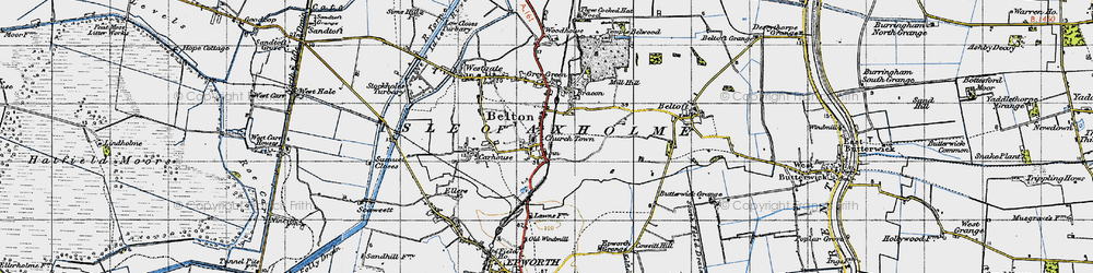 Old map of Belton in 1947