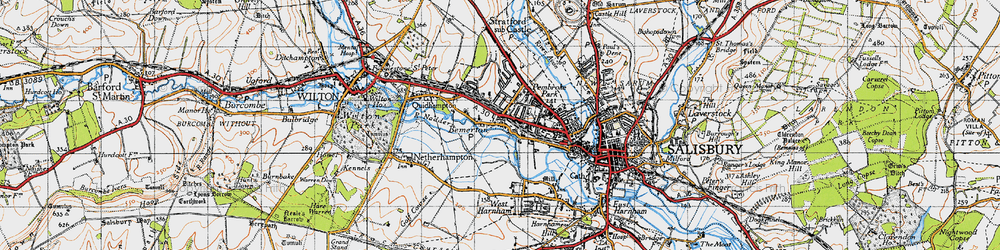 Old map of Bemerton in 1940