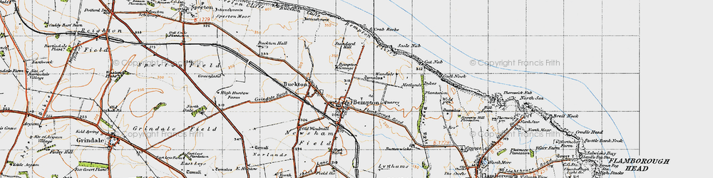 Old map of Bempton in 1947