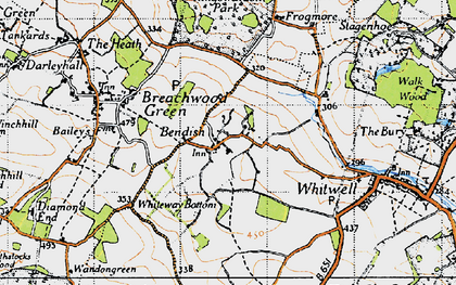 Old map of Bendish in 1946