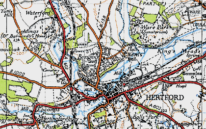Old map of Bengeo in 1946