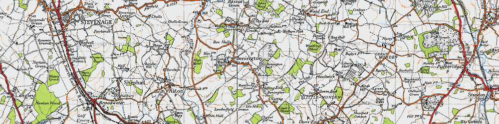 Old map of Benington in 1946