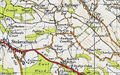 Old map of Bennett End in 1947