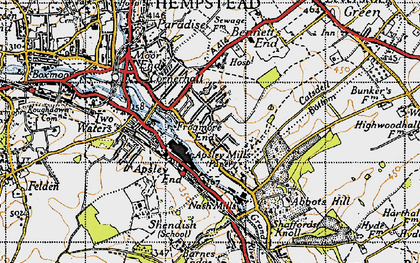 Old map of Bennetts End in 1946