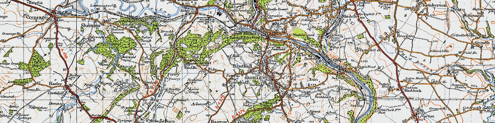 Old map of Benthall in 1947