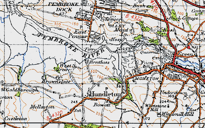 Old map of Bentlass in 1946