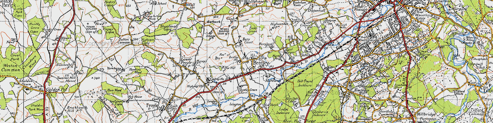 Old map of Bentley in 1940