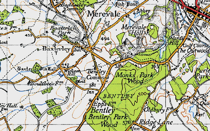 Old map of Merevale in 1946