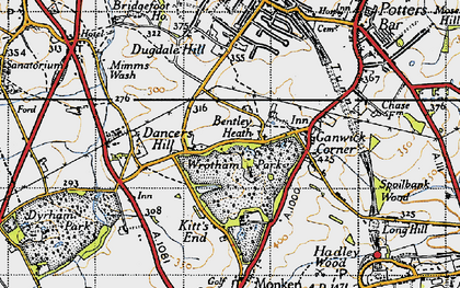 Old map of Wrotham Park in 1946