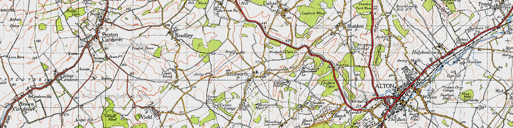 Old map of Bentworth in 1945