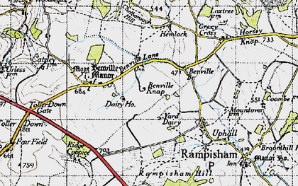 Old map of Yard Dairy in 1945