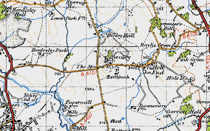 Old map of Beoley in 1947