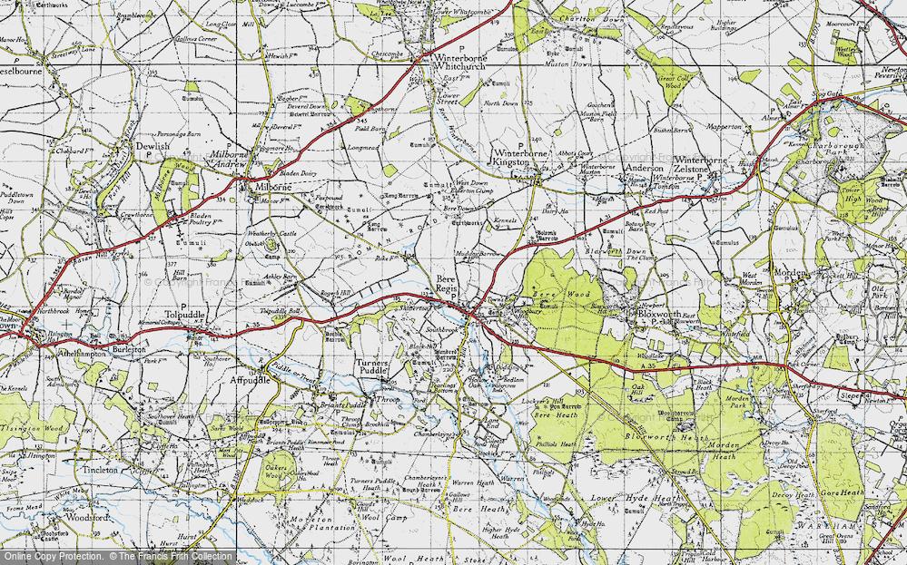 Old Map of Bere Regis, 1945 in 1945