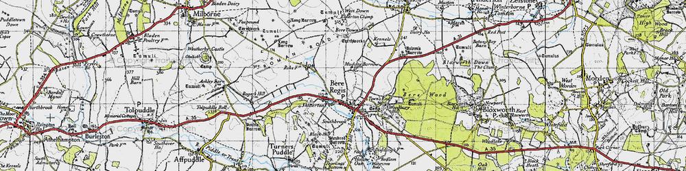 Old map of Bere Regis in 1945