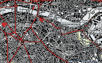 Old map of Bermondsey in 1946