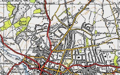 Old map of Bernards Heath in 1946