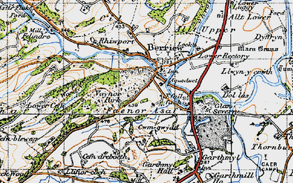 Old map of Berriew in 1947
