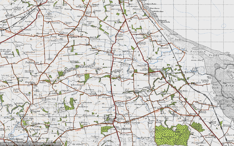 Old Map of Historic Map covering Lickar Dean in 1947