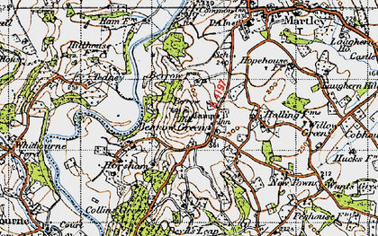 Old map of Worcestershire Way in 1947