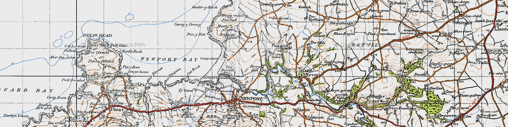 Old map of Wynston in 1947
