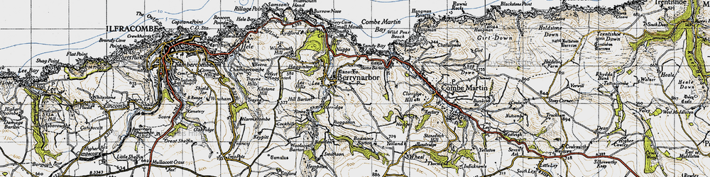 Old map of Berrynarbor in 1946