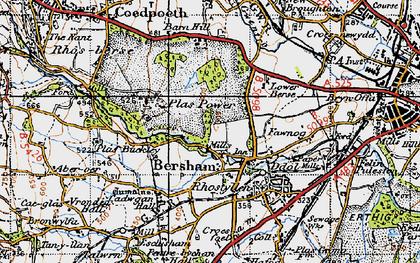 Old map of Bersham in 1947