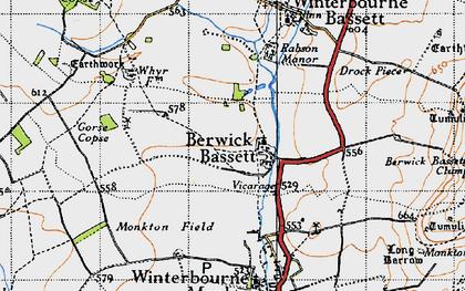 Old map of Berwick Bassett in 1940