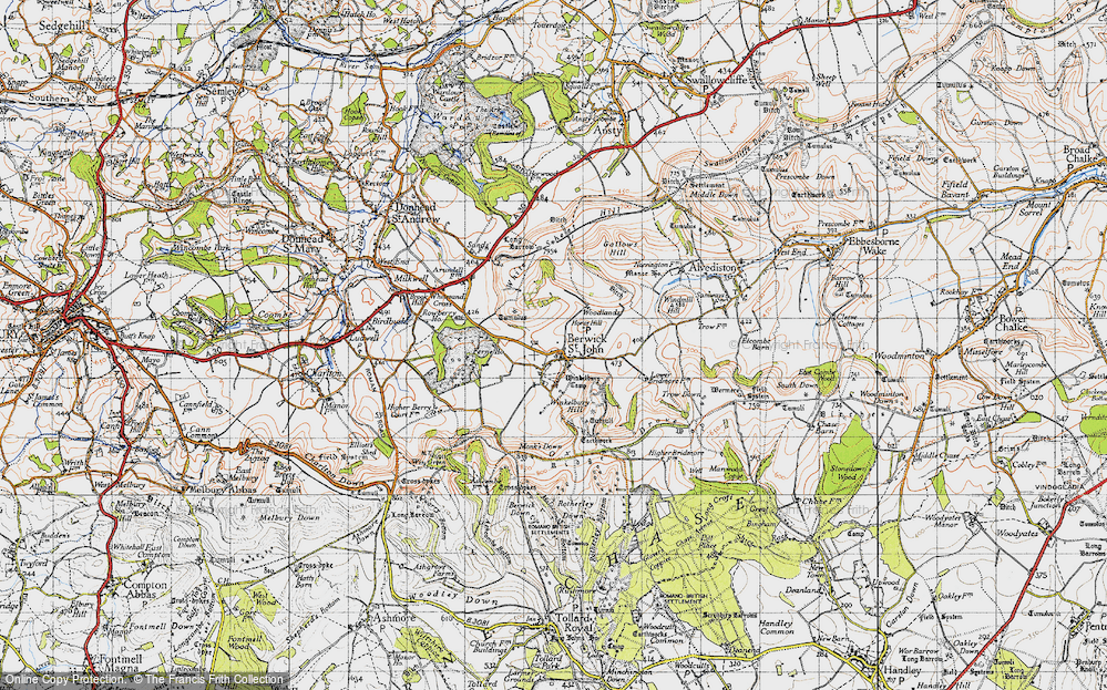 Old Map of Historic Map covering Woodlands in 1940