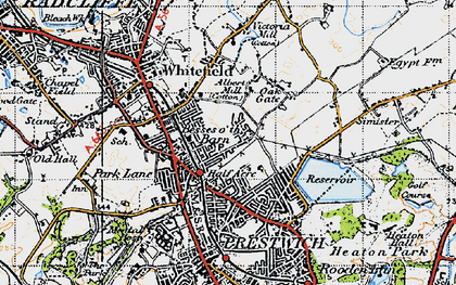 Old map of Besses o' th' Barn in 1947