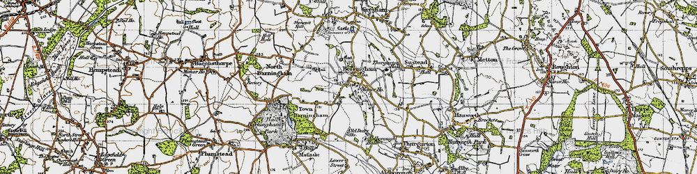 Old map of Aldborough Hall in 1945