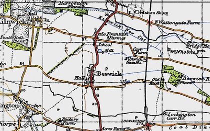 Old map of Wilfholme in 1947