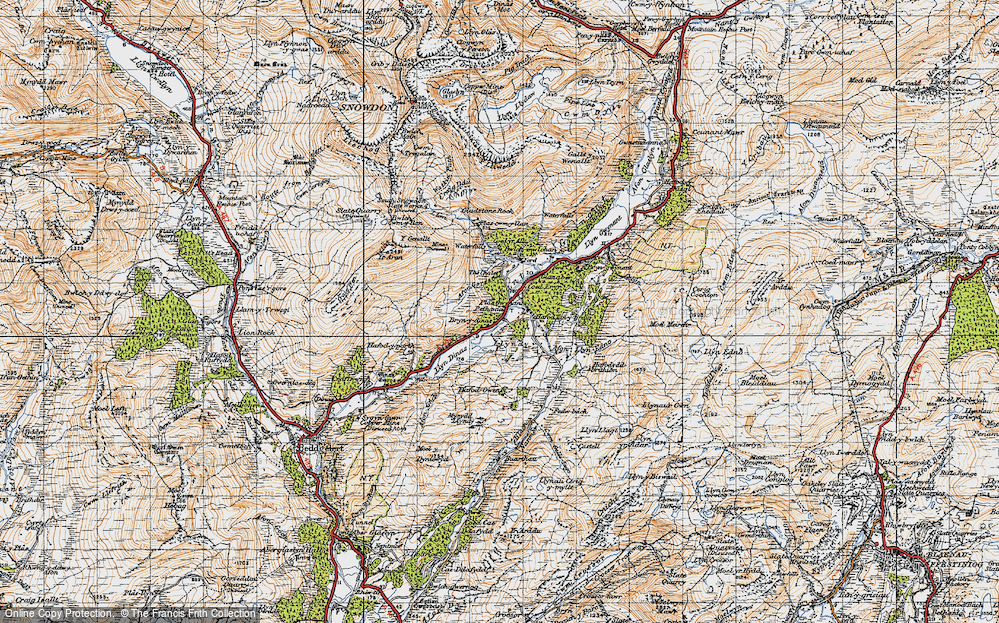 Old Map of Historic Map covering Afon Gorsen in 1947