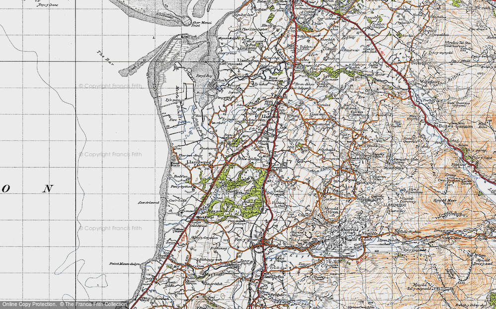 Old Map of Historic Map covering Afon Llifon in 1947