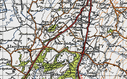 Old map of Afon Llifon in 1947