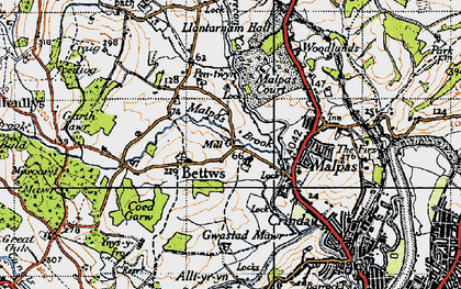 Old map of Bettws in 1946