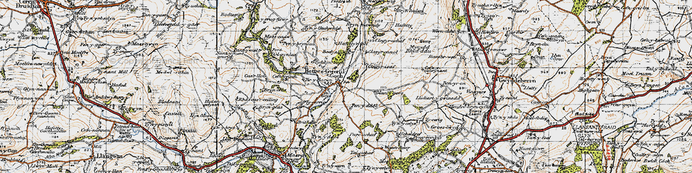 Old map of Bryn-Crâs in 1947