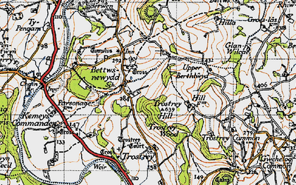 Old map of Bettws Newydd in 1946