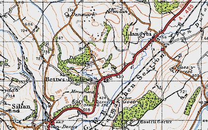 Old map of Betws Bledrws in 1947
