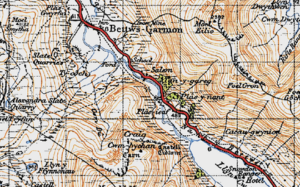 Old map of Betws Garmon in 1947