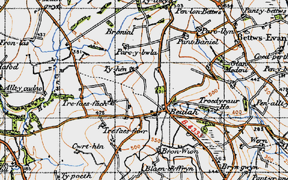 Old map of Beulah in 1947