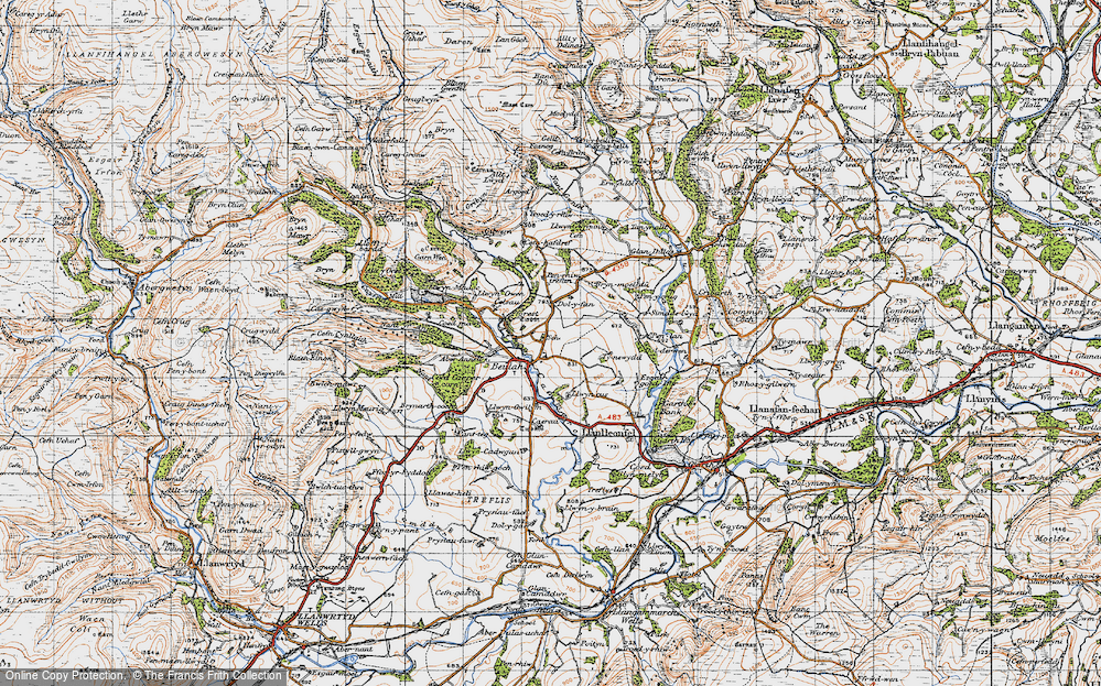 Old Map of Historic Map covering Allt Lwyd in 1947