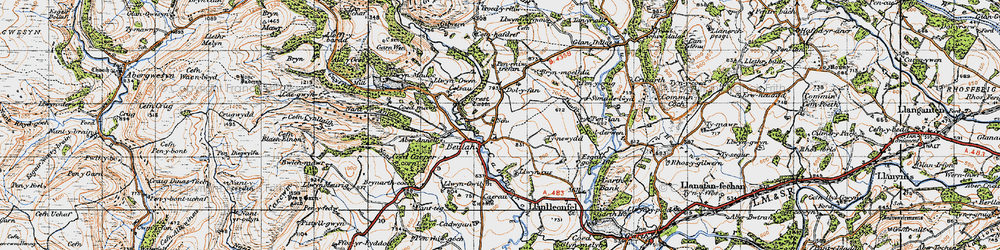 Old map of Aberannell in 1947