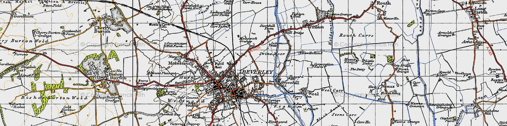 Old map of Beverley in 1947