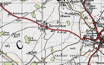 Old map of Beverston in 1946