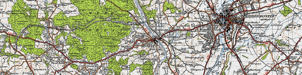 Old map of Bewdley in 1947