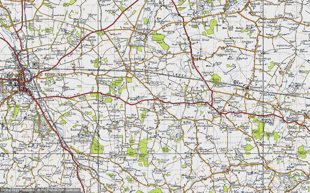 Old Map of Historic Map covering Thurston Planche in 1946
