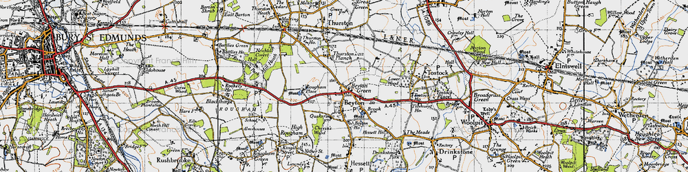 Old map of Thurston Planche in 1946