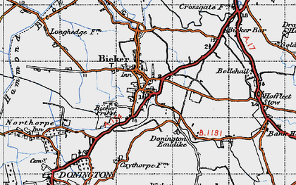 Old map of Bicker in 1946