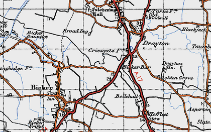 Old map of Bicker Bar in 1946