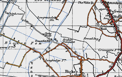 Old map of Bicker Gauntlet in 1946